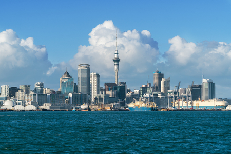 Photo for Auckland city skyline at city center and Auckland Sky Tower, the iconic landmark of Auckland, New Zealand. - Royalty Free Image