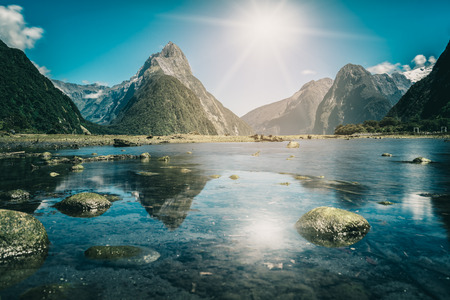Photo for Milford Sound, New Zealand. - Mitre Peak is the iconic landmark of Milford Sound in Fiordland National Park, South Island of New Zealand, the most spectacular natural attraction in New Zealand. - Royalty Free Image