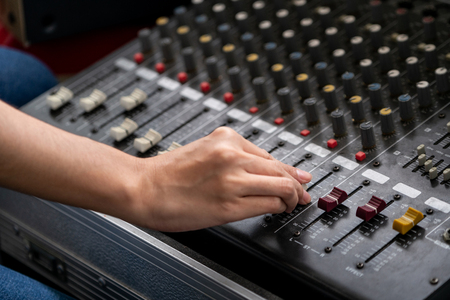 Photo for Amplifier mixer and equalizer in studio room in close up view. - Royalty Free Image