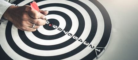 Photo for Businessman leader aiming at mission target. Concept of challenge in business marketing bullseye and intelligent customer reach - Royalty Free Image