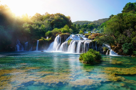 Foto de Panoramic landscape of Krka Waterfalls on the Krka river in Krka national park in Croatia. - Imagen libre de derechos