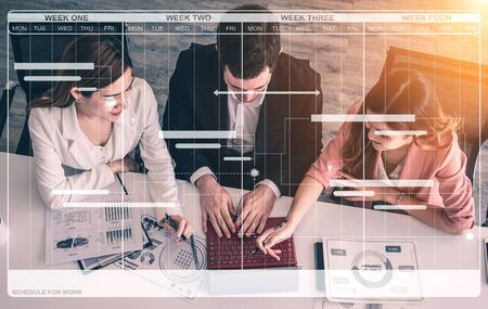Foto de Project management schedule for business planning. Modern graphic interface showing timeline of each task deadline breakdown in plan to monitor by project manager who manage the overall schedule. - Imagen libre de derechos