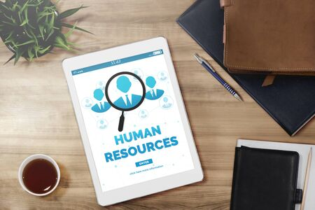 Photo for Human Resources Recruitment and People Networking Concept. Modern graphic interface showing professional employee hiring and headhunter seeking interview candidate for future manpower. - Royalty Free Image