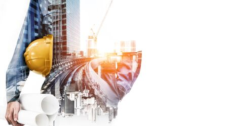 Foto de Future building construction engineering project concept with double exposure graphic design. Building engineer, architect people or construction worker working with modern civil equipment technology. - Imagen libre de derechos