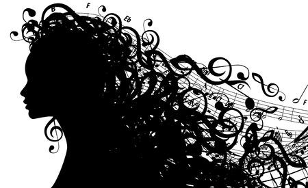 Illustration pour Silhouette of Female Head with Musical Symbols   - image libre de droit