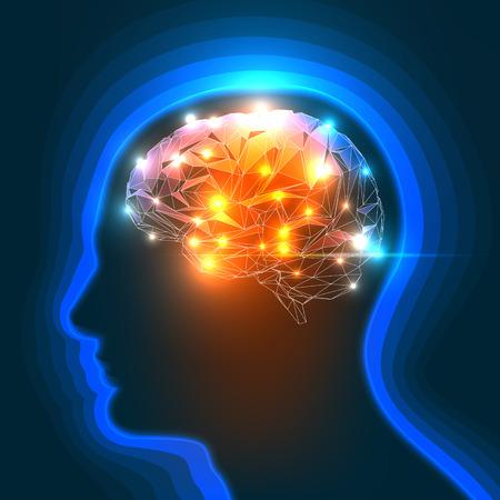 Illustration pour Vector Illustration of a Human Head Silhouette with a Brain. - image libre de droit