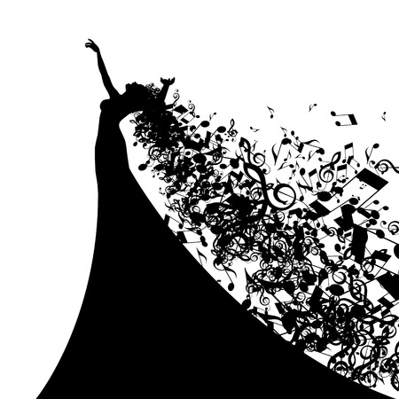 Illustration for Silhouette of Opera Singer with Hair Like Musical Notes. Vector Illustration - Royalty Free Image
