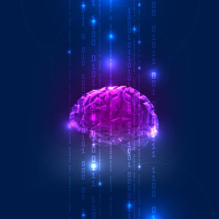 Ilustración de Abstract Activity of Human Brain with Binary Code Stream. Vector Illustration - Imagen libre de derechos