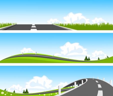 Ilustración de BANNER - Way through nature. Vector - Imagen libre de derechos