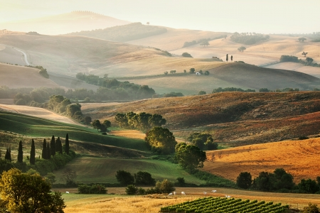 Photo pour Rural countryside landscape in Tuscany region of Italy - image libre de droit