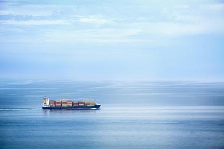 Foto de Large container ship in the open sea - Imagen libre de derechos