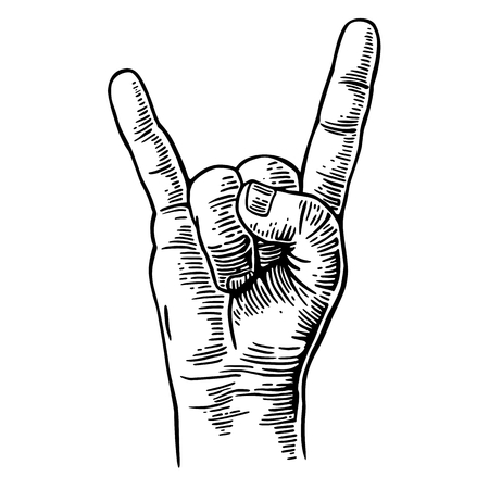 Illustration pour Rock and Roll hand sign. Vector black vintage engraved illustration. Hand giving the devil horns gesture - image libre de droit