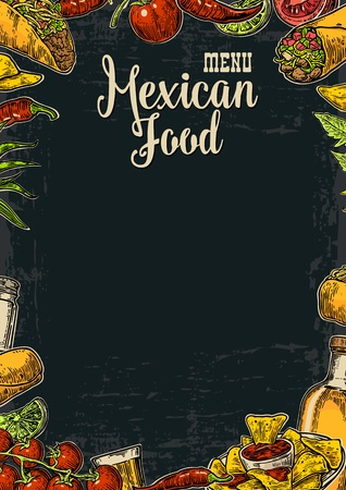 Illustration for Mexican traditional food restaurant menu template with traditional spicy dish. burrito, tacos, tomato, nachos, tequila, lime. Vector vintage engraved illustration on dark background.  For poster, web - Royalty Free Image