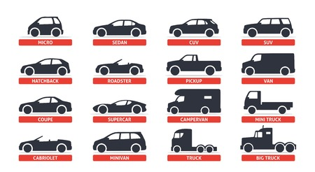 Illustrazione per Car Type and Model Objects icons Set, automobile. Vector black illustration isolated on white background with shadow. Variants of car body silhouette for web. - Immagini Royalty Free