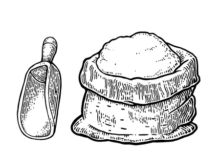 Illustration pour Sack with whole flour with wooden scoop. Hand drawn sketch style. Vintage black vector engraving illustration for label, web, flayer bakery shop.  Isolated on white background. - image libre de droit
