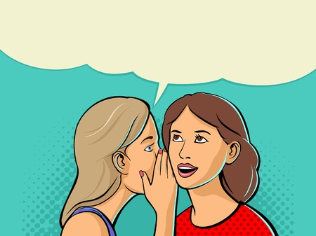 Illustration pour Woman whispering a secret into the ear of her girlfriend. Vector color flat illustration isolated on cyan background - image libre de droit