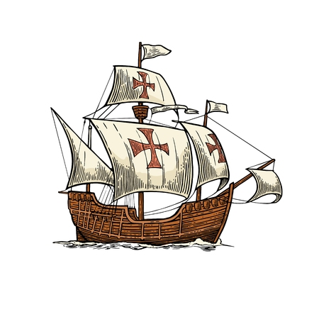 Illustration for Sailing ship floating on the sea waves. Caravel Santa Maria. Hand drawn design element. Vintage color vector engraving illustration for poster Day Columbus . Isolated on white background. - Royalty Free Image