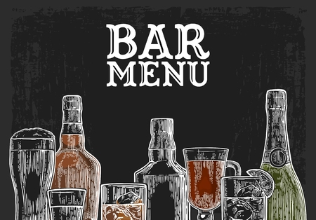 Ilustración de Template for Bar menu alcohol drink. Bottle and glass beer, gin, wine, whiskey, tequila. Vintage color vector engraving illustration for label, poster, invitation to party. Isolated on dark chalkboard - Imagen libre de derechos