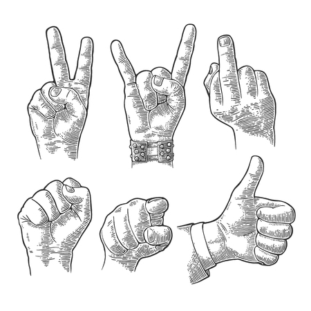 Illustration pour Male and female Hand sign. Fist, Like, Middle finger up, pointing finger at viewer from front, fig, Rock and Roll. Vector vintage engraved illustration isolated white background. - image libre de droit