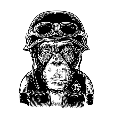 Illustration for Monkey in the motorcycle helmet and glasses. Vintage black engraving - Royalty Free Image