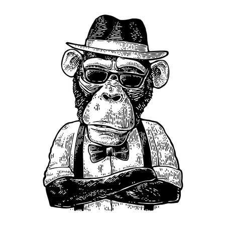 Illustration for Monkey hipster with arms crossedin in hat, shirt, glasses and bow tie - Royalty Free Image