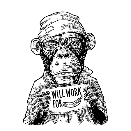 Illustration for Monkeys holding a table with lettering WILL WORK FOR FOOD. - Royalty Free Image