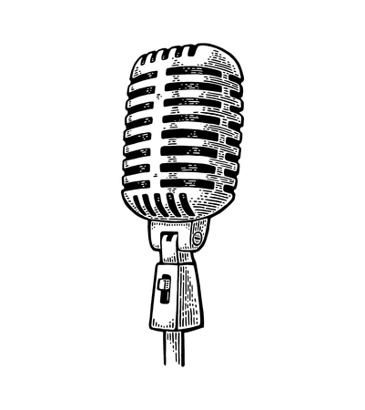 Illustration pour Microphone. Vintage vector black engraving illustration for poster, web. Isolated on white background. - image libre de droit