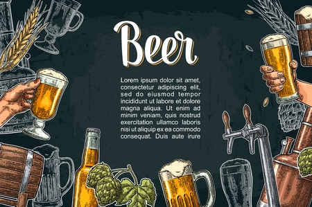 Illustration pour Beer set with tap, class, can, bottle and tanks from brewery factory. - image libre de droit