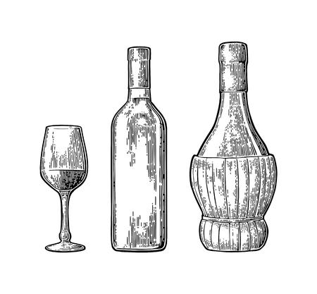 Ilustración de Wine glass, classic and braided bottle. Vintage color engraving vector - Imagen libre de derechos