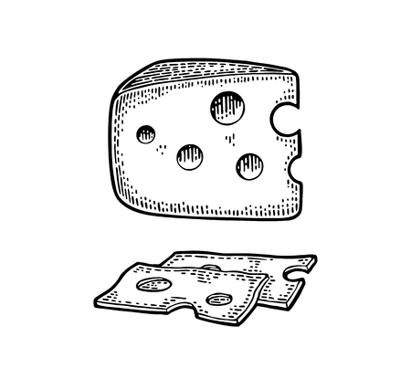 Illustration pour Pieces of Cheese and knife. Half round head and triangle of cheese. - image libre de droit