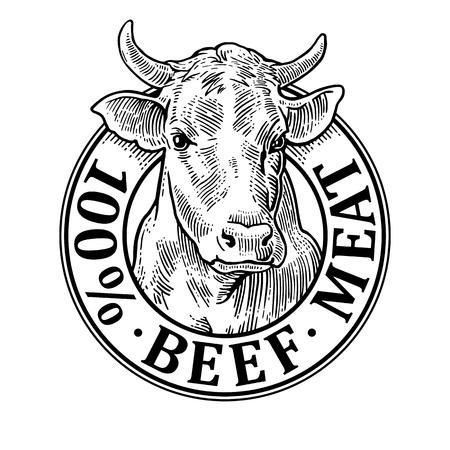 Illustration pour Cows head. 100 % beef meat lettering. Vintage vector engraving - image libre de droit