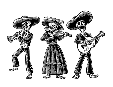 Illustration for Day of the Dead. The skeleton in the Mexican national costumes dance, sing and play the guitar, violin, trumpet. Vector hand drawn vintage engraving isolated on white background - Royalty Free Image
