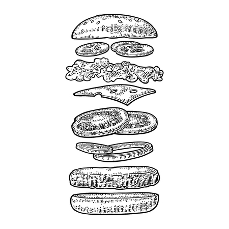 Illustration pour Burger with flying ingredients include bun, tomato, salad, cheese, onion, cucumber. Vector black vintage engraving Illustration isolated on white background. For vertical poster, menu, banner. - image libre de droit