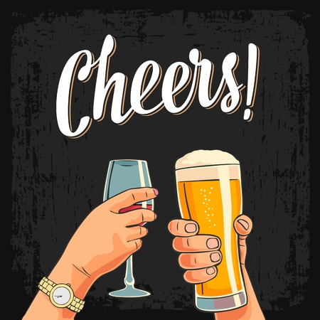Ilustración de Female and male hands holding and clinking with two glasses beer and wine. Cheers toast lettering. Vintage vector color engraving illustration for invitation to party. Isolated on dark background. - Imagen libre de derechos