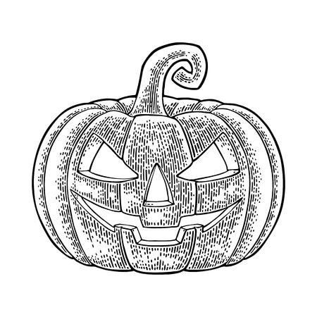 Ilustración de Halloween pumpkin with scary face. - Imagen libre de derechos