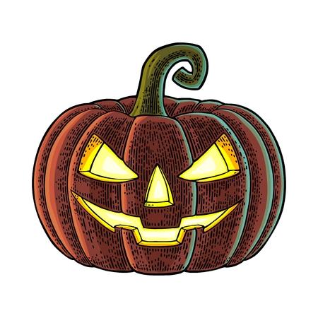 Illustrazione per Colored halloween pumpkin with scary face. - Immagini Royalty Free