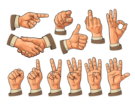 Illustration pour Male and female Hand sign. Fist, Like, pointing, ok, peace, - image libre de droit