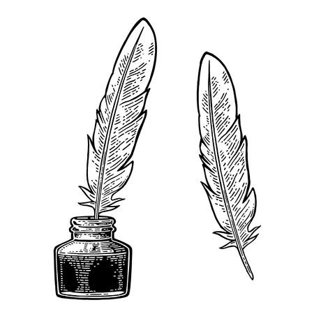Illustration pour Inkwell, with feather isolated on white background. Vector black vintage engraving illustration. Hand drawn in a graphic style. - image libre de droit