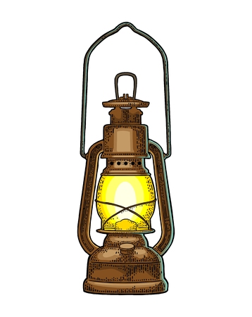 Illustrazione per Antique retro gas lamp in Vintage color engraving illustration for poster, web. Isolated on white background. - Immagini Royalty Free