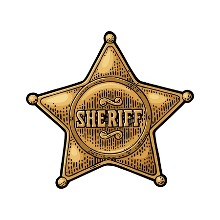 Illustration for Sheriff star. Vintage color vector engraving illustration - Royalty Free Image