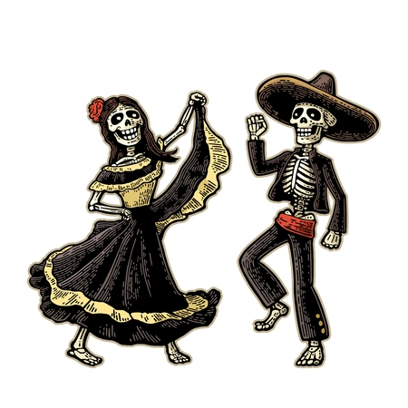 Illustration pour Day of the Dead, Dia de los Muertos . The skeleton in the Mexican national costumes dance, sing and play the guitar. - image libre de droit