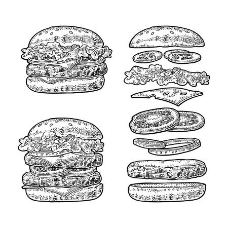 Ilustración de Burger with flying ingredients on white background. Vector black vintage engraving - Imagen libre de derechos