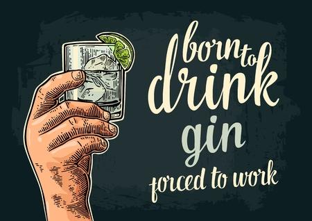 Ilustración de Male hand holding a glass with gin, lime and ice cubes. Vintage vector engraving - Imagen libre de derechos