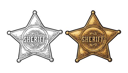 Illustration for Sheriff star. Vintage black and color vector engraving - Royalty Free Image