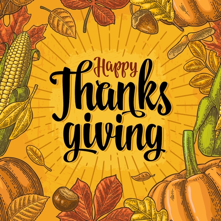 Ilustración de Seamless pattern for Thanksgiving Day. Vintage engraving - Imagen libre de derechos