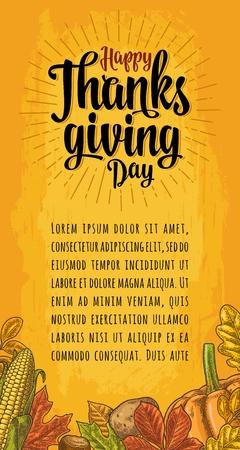Ilustración de Poster with Happy Thanksgiving day calligraphy lettering. - Imagen libre de derechos
