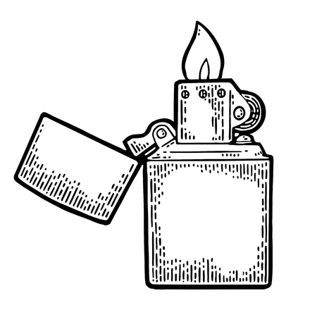 Illustration pour Open lighter in vintage engraved black illustration isolated on white background. - image libre de droit