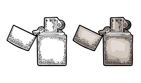 Foto für Metal lighter open. Vector vintage engraved color illustration isolated on white background. - Lizenzfreies Bild