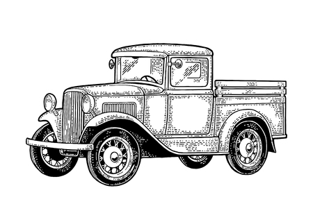 Illustration pour Retro pickup truck. Side view. Vintage black engraving - image libre de droit