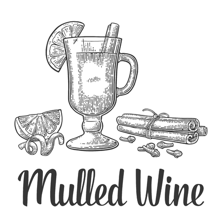 Illustration pour Mulled wine with glass and ingredients. - image libre de droit